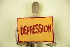 Conceptual hand writing showing Depression. Business photo text Work stress with sleepless nights having anxiety disorder written. Sticky Note paper plain stock images