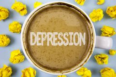 Conceptual hand writing showing Depression. Business photo text Work stress with sleepless nights having anxiety disorder written. Coffee in Cup within Paper stock photography