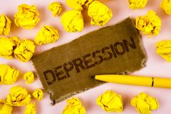 Conceptual hand writing showing Depression. Business photo text Work stress with sleepless nights having anxiety disorder written. Tear Cardboard piece plain royalty free stock image