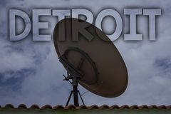 Conceptual hand writing showing Detroit. Business photo text City in the United States of America Capital of Michigan Motown Ideas. Messages television antenna royalty free stock photo