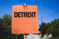 Conceptual hand writing showing Detroit. Business photo text City in the United States of America Capital of Michigan Motown Woode. N board post ideas blue sky stock photo