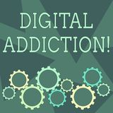 Conceptual hand writing showing Digital Addiction. Business photo showcasing disorder that involves the obsessive use of. Conceptual hand writing showing Digital vector illustration