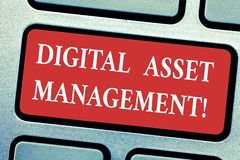 Conceptual hand writing showing Digital Asset Management. Business photo text Business processes for analysisaging digital. Accounts Keyboard key Intention to royalty free stock photo