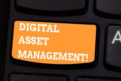 Conceptual hand writing showing Digital Asset Management. Business photo text Business processes for analysisaging digital. Accounts Keyboard key Intention to stock images