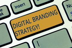 Conceptual hand writing showing Digital Branding Strategy. Business photo showcasing develop a brand over a range of royalty free stock photo