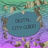 Conceptual hand writing showing Digital City Guide. Business photo text app which provides assistance information on. Cultural Tree Branches Scattered with stock illustration