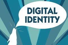 Conceptual hand writing showing Digital Identity. Business photo showcasing information on entity used by computer to represent ag. Ent royalty free illustration