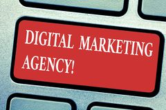 Conceptual hand writing showing Digital Marketing Agency. Business photo text Helps business engage with exact target audiences. Keyboard key Intention to stock illustration