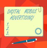 Conceptual hand writing showing Digital Mobile Advertising. Business photo text form of publicity via wireless phones. And devices Square Color Board with royalty free illustration