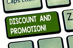 Conceptual hand writing showing Discount And Promotion. Business photo showcasing reductions to a basic price of goods. Or services Keyboard key Intention to royalty free illustration