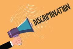 Conceptual hand writing showing Discrimination. Business photo text Prejudicial treatment of different categories of showing.  stock illustration