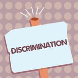 Conceptual hand writing showing Discrimination. Business photo text Prejudicial treatment of different categories of showing.  royalty free illustration
