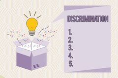 Conceptual hand writing showing Discrimination. Business photo text Prejudicial treatment of different categories of. Showing stock illustration