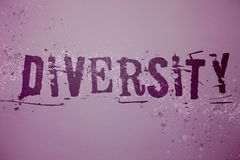 Conceptual hand writing showing Diversity. Business photo text Being Composed of different elements Diverse Variety Multiethnic Id stock images