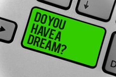 Conceptual hand writing showing Do You Have A Dream question. Business photo showcasing asking someone about life goals Achievemen. Ts Computer program keyboard royalty free stock photography