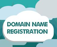 Conceptual hand writing showing Domain Name Registration. Business photo showcasing Own an IP Address Identify a particular Webpag Royalty Free Illustration