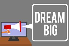 Conceptual hand writing showing Dream Big. Business photo showcasing To think of something high value that you want to achieve Man. Holding Megaphone computer royalty free stock photos