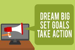 Conceptual hand writing showing Dream Big Set Goals Take Action. Business photo text Motivation to follow your dreams Inspiration stock photography