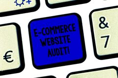 Conceptual hand writing showing E Commerce Website Audit. Business photo text evaluating the search engine level of. Visibility Keyboard key Intention to create royalty free stock image