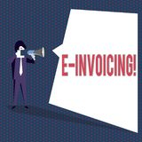 Conceptual hand writing showing E Invoicing. Business photo text Company encourages use of digital billing. Conceptual hand writing showing E Invoicing royalty free illustration