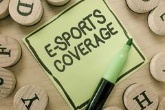 Conceptual hand writing showing E Sports Coverage. Business photo showcasing Reporting live on latest sports competition. Broadcasting royalty free stock photo