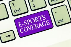 Conceptual hand writing showing E Sports Coverage. Business photo text Reporting live on latest sports competition. Broadcasting stock photography