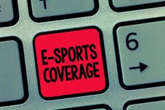 Conceptual hand writing showing E Sports Coverage. Business photo text Reporting live on latest sports competition. Broadcasting royalty free stock photos