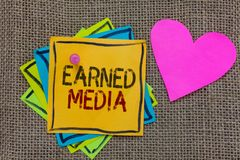 Conceptual hand writing showing Earned Media. Business photo text Publicity gained through promotional efforts by multimedia Paper. Notes Important reminders stock photo