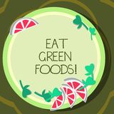 Conceptual hand writing showing Eat Green Foods. Business photo showcasing Eating more vegetables healthy diet. Vegetarian veggie demonstrating Cutouts of royalty free illustration