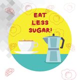 Conceptual hand writing showing Eat Less Sugar. Business photo text Reduction of eating sweets Diabetic control dieting. Conceptual hand writing showing Eat vector illustration