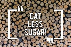 Conceptual hand writing showing Eat Less Sugar. Business photo text Reduction of eating sweets Diabetic control dieting. Wooden background vintage wood wild vector illustration