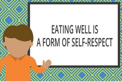 Conceptual hand writing showing Eating Well Is A Form Of Self Respect. Business photo text a quote of promoting healthy. Conceptual hand writing showing Eating stock illustration