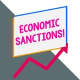 Conceptual hand writing showing Economic Sanctions. Business photo showcasing Penalty Punishment levied on another. Conceptual hand writing showing Economic vector illustration