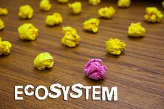 Conceptual hand writing showing Ecosystem. Business photo showcasing biological community of interacting organisms and. Environment Lots crumpled papers royalty free stock photo