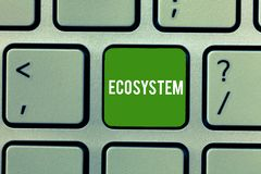 Conceptual hand writing showing Ecosystem. Business photo showcasing biological community of interacting organisms and. Environment Keyboard Intention to create vector illustration