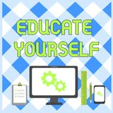 Conceptual hand writing showing Educate Yourself. Business photo showcasing prepare oneself or someone in a particular. Conceptual hand writing showing Educate stock illustration