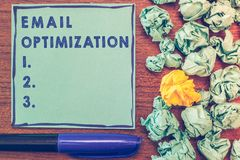 Conceptual hand writing showing Email Optimization. Business photo showcasing Maximize the effectiveness of the marketing campaign.  royalty free stock photos