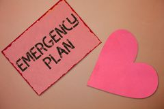Conceptual hand writing showing Emergency Plan. Business photo text Procedures for response to major emergencies Be prepared.  stock photo