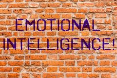 Conceptual hand writing showing Emotional Intelligence. Business photo showcasing Capacity to control and be aware of. Demonstratingal emotions Brick Wall art stock images