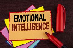 Conceptual hand writing showing Emotional Intelligence. Business photo showcasing Capacity to control and be aware of personal emo. Tions written Sticky note Royalty Free Stock Photo
