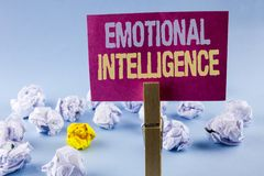 Conceptual hand writing showing Emotional Intelligence. Business photo text Capacity to control and be aware of personal emotions. Written Sticky Note Paper Royalty Free Stock Photography
