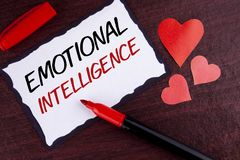 Conceptual hand writing showing Emotional Intelligence. Business photo text Capacity to control and be aware of personal emotions. Written Sticky Note Paper stock photography