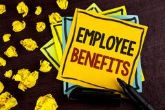 Conceptual hand writing showing Employee Benefits. Business photo showcasing list of advantage recruiter get at work Insurance wri. Tten Sticky Note Paper wooden Royalty Free Stock Photography