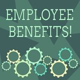 Conceptual hand writing showing Employee Benefits. Business photo showcasing payments made to employees beyond the scope. Conceptual hand writing showing stock illustration