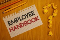Conceptual hand writing showing Employee Handbook. Business photo text Document Manual Regulations Rules Guidebook Policy Code Wor. Ds written Note Desk Pen royalty free stock images