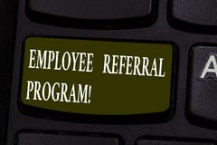 Conceptual hand writing showing Employee Referral Program. Business photo showcasing hire best talent from employees existing. Networks Keyboard key Intention royalty free stock photo