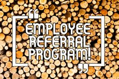 Conceptual hand writing showing Employee Referral Program. Business photo showcasing strategy work encourage employers through. Prizes Wooden background vintage stock images
