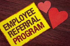 Conceptual hand writing showing Employee Referral Program. Business photo text Recommend right jobseeker share vacant job post wri. Tten Yellow Sticky note paper royalty free stock photos