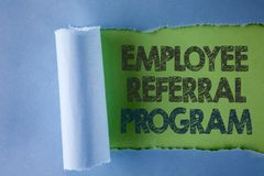 Conceptual hand writing showing Employee Referral Program. Business photo text strategy work encourage employers through prizes wr. Itten under Tear Folded paper stock images