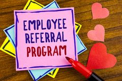 Conceptual hand writing showing Employee Referral Program. Business photo text strategy work encourage employers through prizes wr. Itten Sticky note paper stock photos